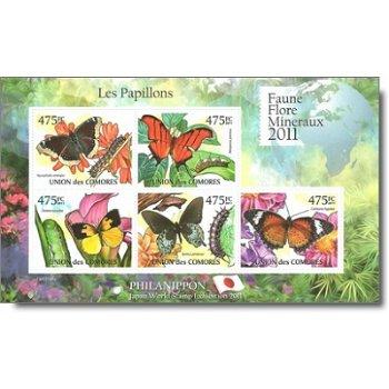 """Flora und Fauna 2011 """"Schmetterlinge"""" - Briefmarken-Block postfrisch, Komoren"""