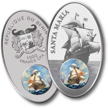 Segelschiff Santa Maria - Silbermünze mit Glasintarsie, Benin