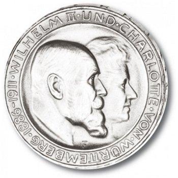 3 Mark Silbermünze, Silberhochzeit, Katalog-Nr. 177A, Königreich Württemberg