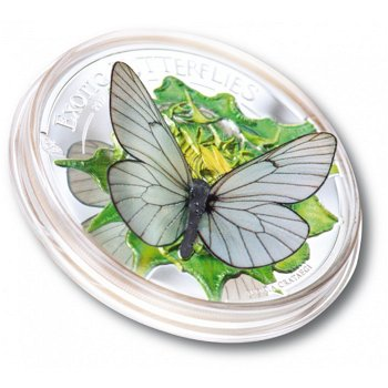 Der 3D-Schmetterling, Silbermünze mit Farbauflage, polierte Platte, Mongolei