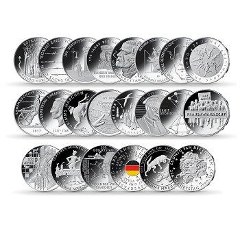20 Euro Silbermünzen Sammlung, Polierte Platte, Deutschland