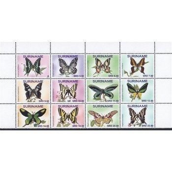 Schmetterlinge - 12 Briefmarken postfrisch, Surinam
