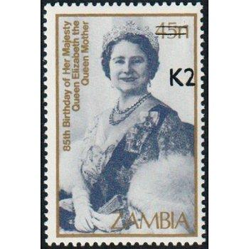 85. Geburtstag Queen Mum, Königin Elisabeth - Briefmarke mit lokalem Aufdruck, Katalog-Nr. 568, Samb