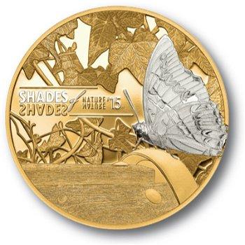 Shades of Nature/Schmetterling, 5 Dollar Silbermünze vergoldet, Cook Inseln