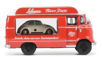 Modell:Mercedes-Benz L 319 Werbewagenmit VW Käfer - Schuco Micro Racer -(Schuco/Piccolo, 1:43)
