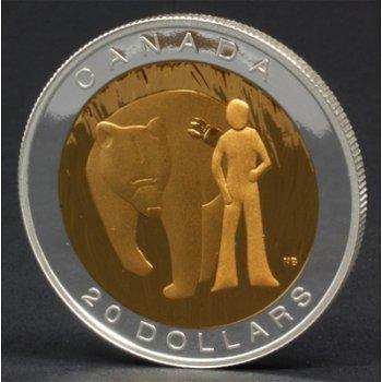 Die heilige Tugend Mut, 20 Dollar Silbermünze mit Teilvergoldung, Canada