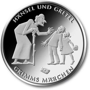 Hansel and Gretel, 10 Euro silver coin 2014, Proof