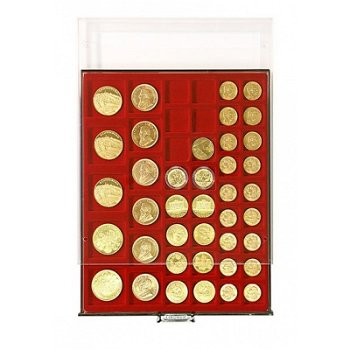LINDNER Münzenbox, diverse quadratische Vertiefungen, LI 2745, Rauchglas