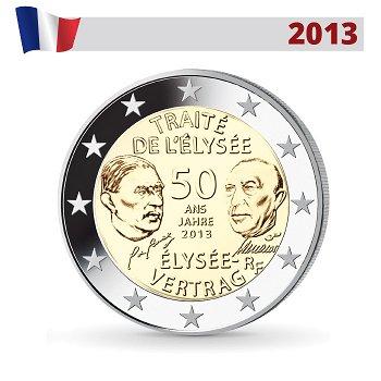 50 Jahre Élysée-Vertrag - Gemeinschaftsausgabe, 2 Euro Münze 2013, Frankreich