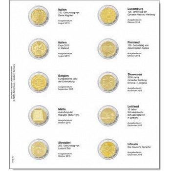 Lindner Vordruckblatt inkl. Münzblatt für 2 Euro-Gedenkmünzen: Italien August 2015 bis Litauen Dezem