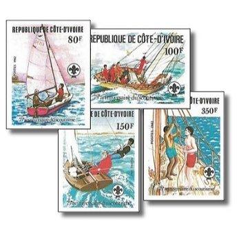 75 Jahre Pfadfinder - 4 Briefmarken ungezähnt postfrisch, Katalog-Nr. 728B-731B, Elfenbeinküste