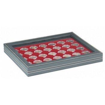 Nera Münzkassette M mit Sichtfenster für 2 Euro Münzen gekapselt, Münzeinlage dunkelrot, Lindner 236