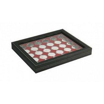 Nera Münzkassette M mit Sichtfenster für 20 Euro Münzen in Spiegelglanz, Münzeinlage dunkelrot, Lind