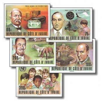 Nobelpreissträger - 5 Briefmarken ungezähnt postfrisch, Katalog-Nr. 546B-550B, Elfenbeinküste