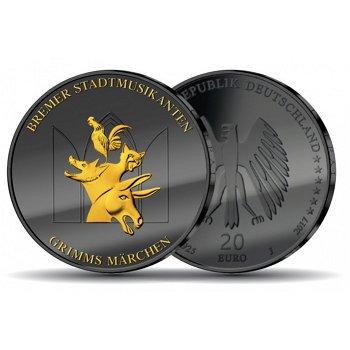 Golden Enigma - Die Bremer Stadtmusikanten, 20 Euro Silbermünze mit Rutheniumauflage und Teilvergold