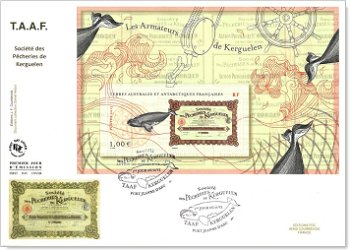 Reeder von den Kerguelen - Ersttagsbrief, Französische Gebiete in der Antarktis