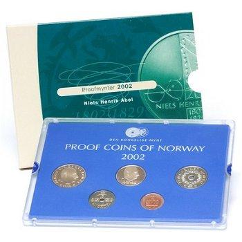 Kursmünzensatz Norwegen 2002 im Folder, Polierte Platte