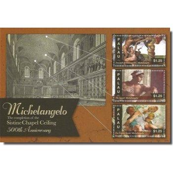 500 Jahre Deckenfresko Sixtinische Kapelle - Briefmarkenblock postfrisch, Palau