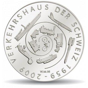 50 Jahre Verkehrshaus, 20 Franken Münze 2009 Schweiz, Polierte Platte