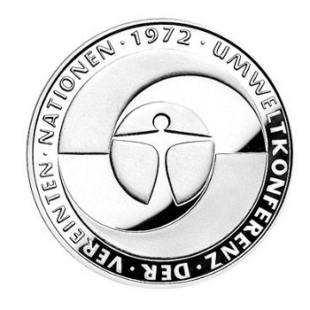 """5-DM-Münze """"10. Jahrestag Umweltschutz-Konferenz"""", Polierte Platte"""
