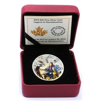 Legende von Nanaboozhoo, 20 Dollar Silbermünze mit Farbapplikation, Canada