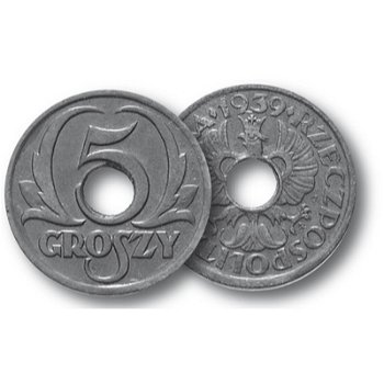 Gekrönter Wappenadler, 5 Groszy Münze, Generalgouvernement