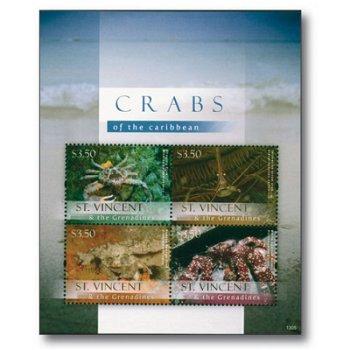 Krabben - Briefmarken-Block postfrisch, St. Vincent