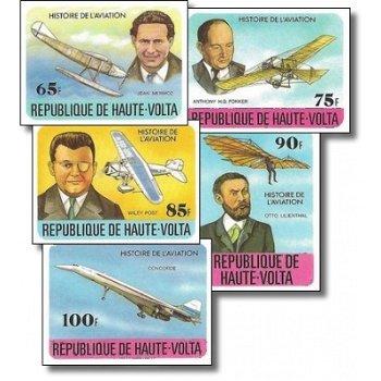 Geschichte der Luftfahrt – Briefmarken postfrisch, ungezähnt, Katalog-Nr. 706-710, Obervolta