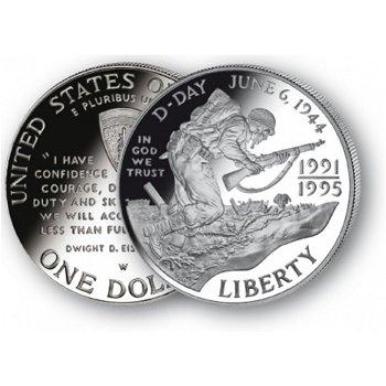 Landung in der Normandie - Silberdollar 1993, 1 Dollar Silbermünze, USA