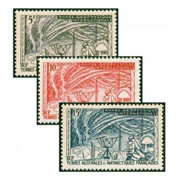 Internationales Geophysikalisches Jahr - 3 Briefmarken postfrisch, Kat-Nr. 10-12, TAAF