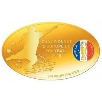 Fußball EM in Frankreich, Goldmünze mit Farbauflage, Tschad