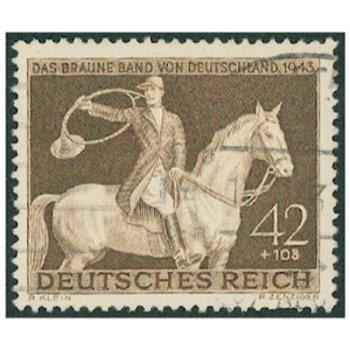 """Rennen um """"Das Braune Band"""" 1943 - Briefmarke, Katalog-Nr. 854, gestempelt, Deutsches Reic"""