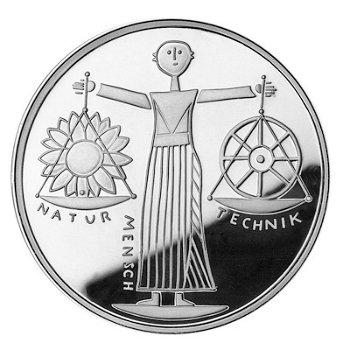 """10-DM-Silbermünze """"EXPO 2000"""", Polierte Platte"""
