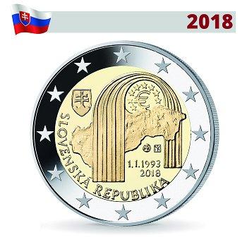 25. Jahrestag der Unabhängigkeit, 2 Euro Münze 2018, Slowakei