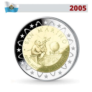 2 Euro Münze 2005, Jahr der Physik, San Marino
