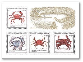 Krabben - Block postfrisch, Französische Gebiete in der Antarktis
