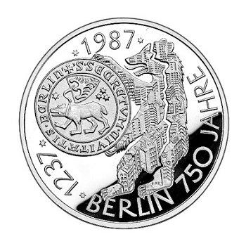 """10-DM-Silbermünze """"750 Jahre Berlin"""", Polierte Platte"""