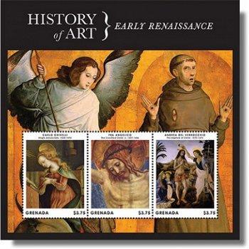 History of Art - Early Renaissance - Briefmarken-Block postfrisch, Grenada