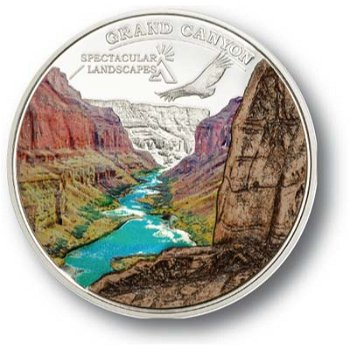 Grand Canyon - Silbermünze mit Farbauflage, Cook Inseln