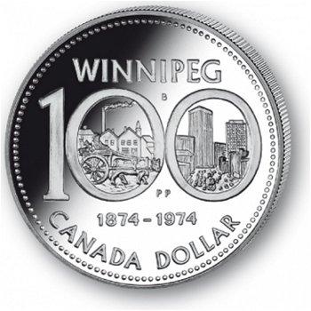 100 Jahre Winnipeg - Silberdollar 1974, 1 Dollar Silbermünze, Canada