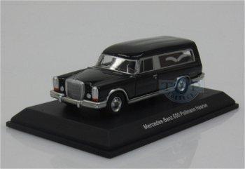 Modellauto:Mercedes-Benz 600 Pollmann Bestattungswagen, schwarz(BoS, 1:87)