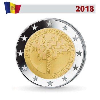 70 Jahre Deklaration der Menschenrechte, 2 Euro Gedenkmünze 2018, Andorra