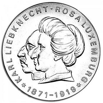 """20-Mark-Münze 1971 """"100. Geburtstag von Karl Liebknecht und Rosa Luxemburg"""", DDR"""