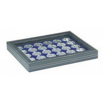 Nera Münzkassette M mit Sichtfenster für 20 Euro Münzen in Münzkapseln, Münzeinlage blau, Lindner 23