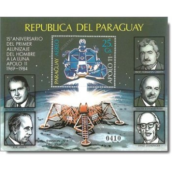 Weltraum: Apollo 11, Der Rückflug - Briefmarken-Block postfrisch, Katalog-Nr. 3790 Bl. 406, Paraguay