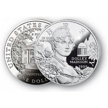 Dolley Madison - Silberdollar 1999, 1 Dollar Silbermünze, USA