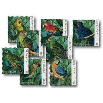 Prächtige Papageien - 8 Briefmarken postfrisch, Grenada