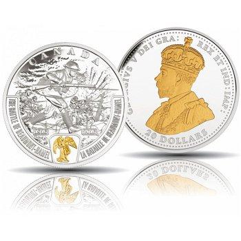 Schlacht von Beaumont-Hamel - Erster Weltkrieg, 20 Dollar Silbermünze 2016 mit Teilvergoldung, polie