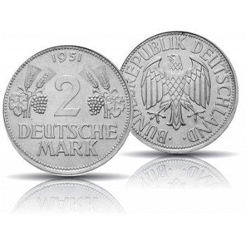 """2 DM Münze """"Ähren"""" 1951, Prägezeichen F"""