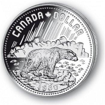 Eisbär - Silberdollar 1980, 1 Dollar Silbermünze, Canada